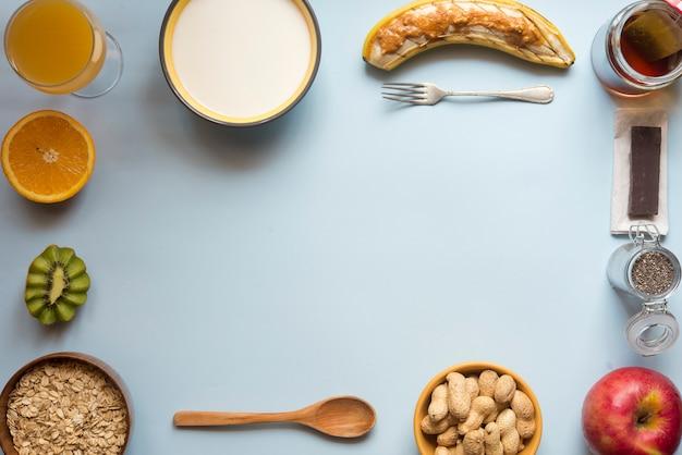 Draufsichtblau des gesunden frühstücks