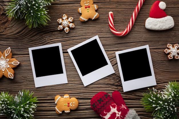 Draufsichtfotos mit weihnachtsdekoration