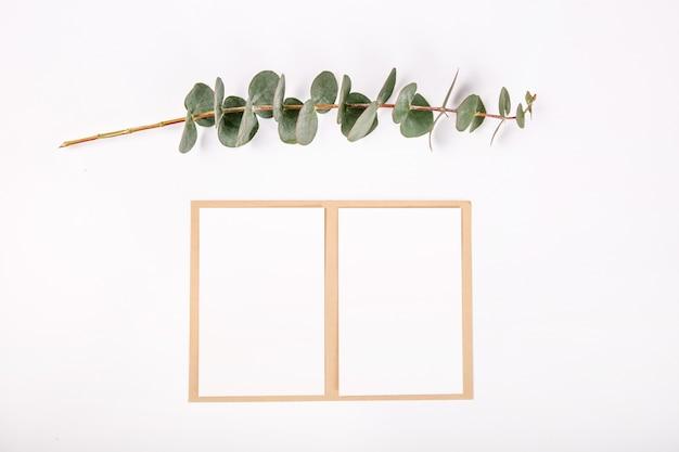 Draufsichtgrunge grußkarte pflanzt weißen hintergrund