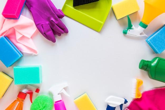 Draufsichtkreisrahmen mit verschiedenen produkten