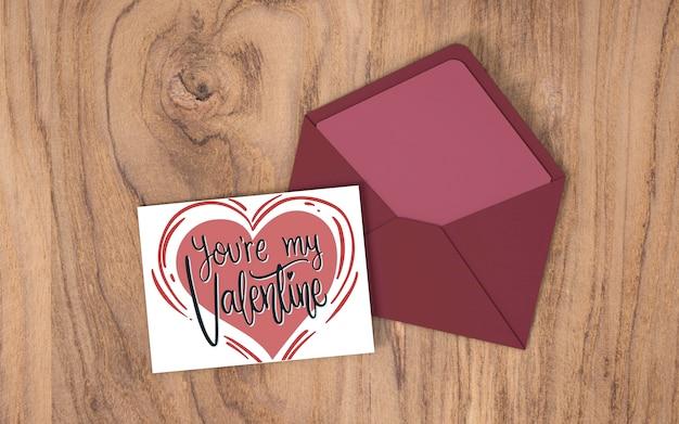 Draufsichtliebeskarte für valentinstag