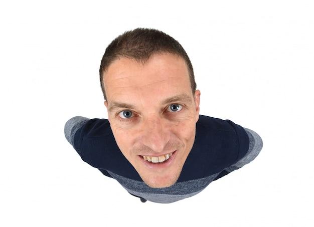 Draufsichtporträt eines mannes auf weiß