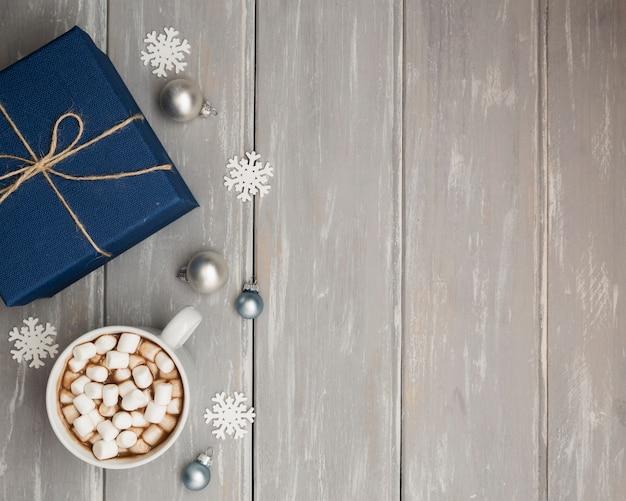 Draufsichtrahmen mit geschenk und kopieraum