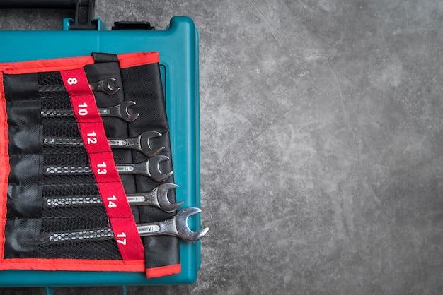 Draufsichtsatz von metallschlüsseln