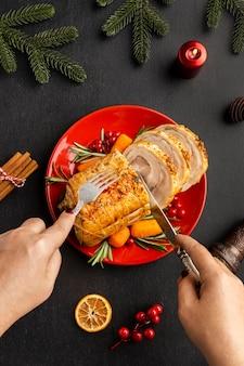 Draufsichtsortiment des köstlichen weihnachtsgerichts