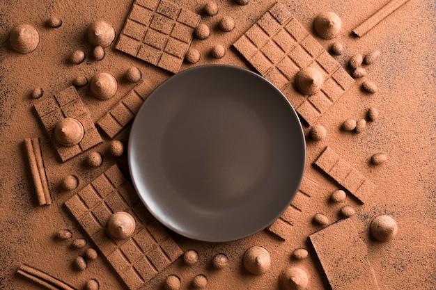 Draufsichtsortiment mit schokolade