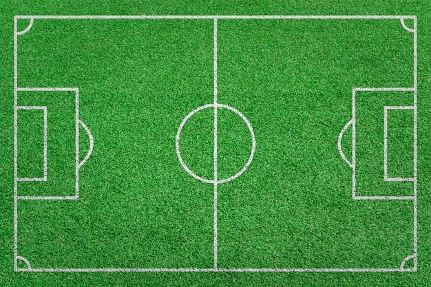 Draufsichtstreifengrasfußballfeld. grüner rasen mit weißem linienmusterhintergrund.