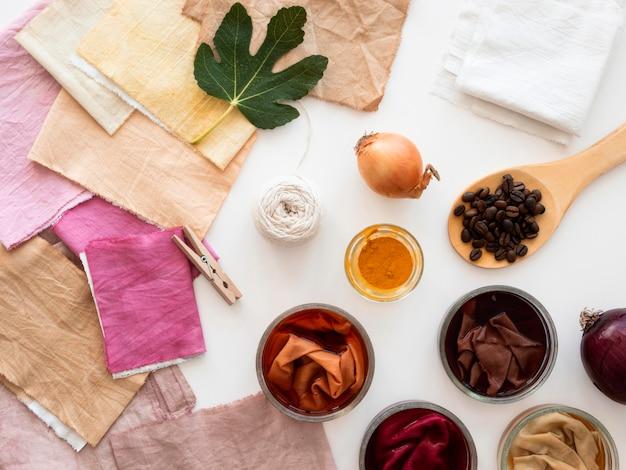 Draufsichttücher mit verschiedenen natürlichen pigmentanordnungen
