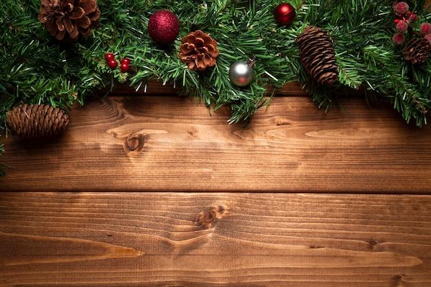 Draufsichtweihnachtsdekoration mit kopienraum