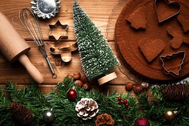 Draufsichtweihnachtskochgeräte