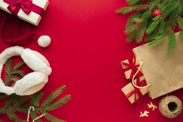 Draufsichtweihnachtsverzierung mit kopienraum