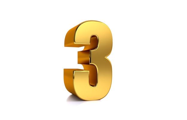 Drei 3d-illustration goldene nummer 3 auf weißem hintergrund und kopienraum auf der rechten seite für text am besten für jubiläumsgeburtstag neujahr