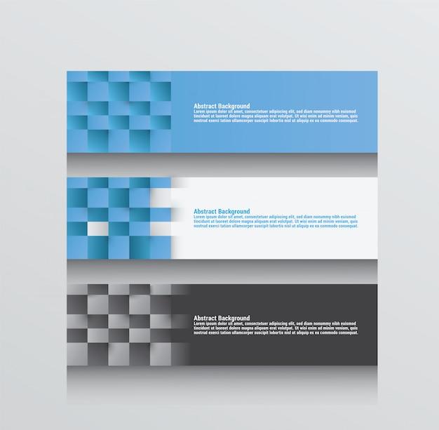 Drei abstrakte hintergrundvektoren im blauen grau und im weiß