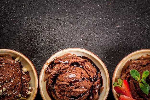 Drei arten von schokoladeneis