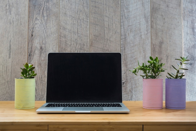 Drei eingemachte gemalte dosen mit einem offenen laptop auf tabelle