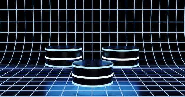 Drei futuristische podien auf neon drahtgitter oberfläche hintergrund