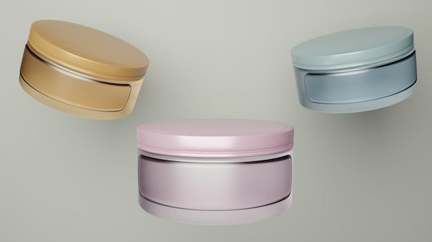 Drei glas kosmetikdose mit verschiedenen farben für mockup und branding