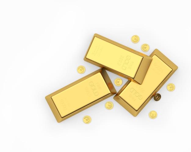 Drei goldbarren unter den euro-münzen