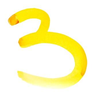 Drei - handgemalte gelbe aquarellzahlen