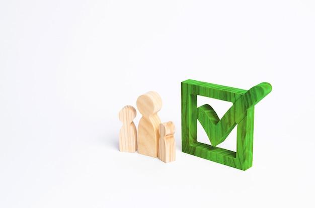 Drei holzfiguren stehen neben einem häkchen im kasten.
