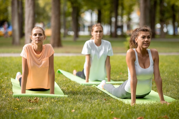 Drei junge schlanke mädchen, die sich auf yogamatten auf grünem gras im park im freien dehnen.