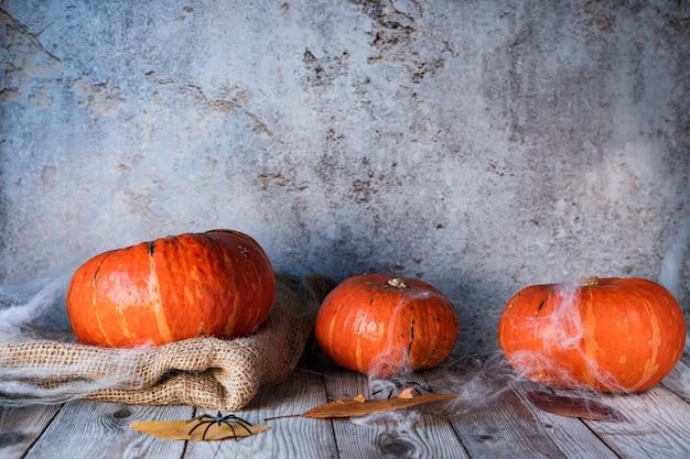 Drei kürbisse auf dunklem rustikalem hintergrund bei nacht bedeckt mit spinnennetz. halloween-konzept. speicherplatz kopieren