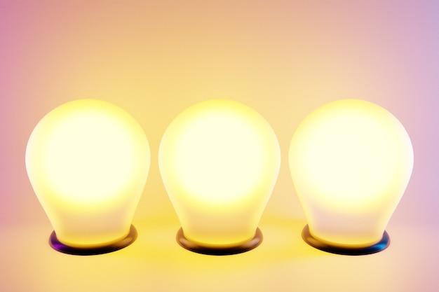 Drei leuchtend gelbe glühbirnen in einer reihe werden auf einem rosa isolierten hintergrund beleuchtet. die glühbirnen aus der aussparung leuchten hell