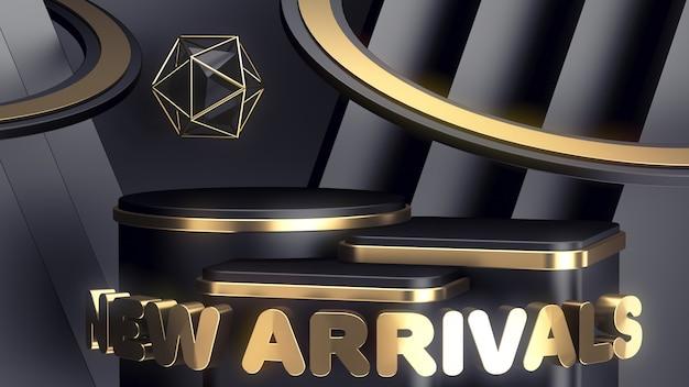 Drei luxuriöse schwarz-goldene podien unterschiedlicher höhe präsentieren ihre produkte. neuankömmlinge