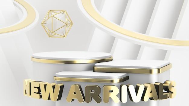 Drei luxuriöse weiß- und goldpodeste in verschiedenen höhen präsentieren neuankömmlinge. abstrakter moderner hintergrund. 3d rendern