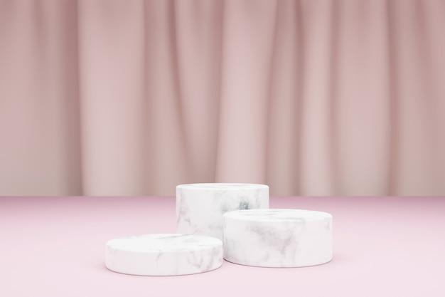 Drei marmorzylinder zur produktpräsentation und textilvorhang auf hintergrund