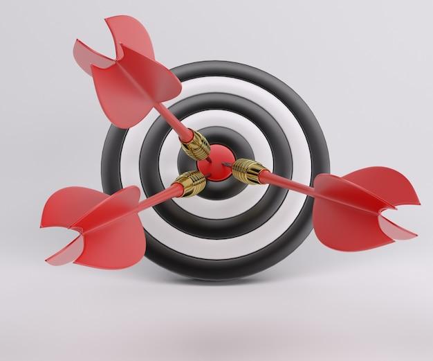 Drei pfeile in der mitte des bullseye