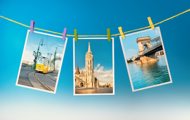 Drei postkarten aus budapest hängen an einem seil