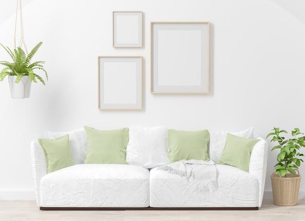 Drei-rahmen-collage-modell auf innenwohnzimmer mit 3d-rendering der grünen pflanzen