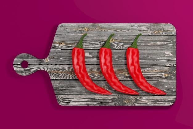 Drei red hot chili peppers über holzschneidebrett auf rosa hintergrund. 3d-rendering