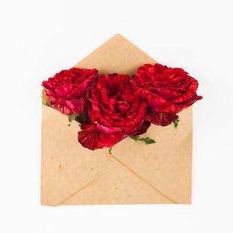 Drei rote rosen im braunen umschlag über weißem hintergrund