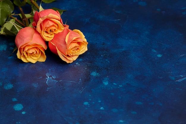 Drei schöne orange rosen auf blau