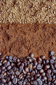 Drei sorten kaffee nahaufnahme