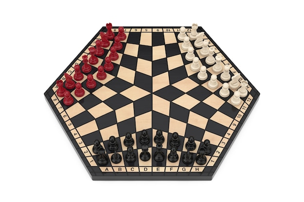 Drei spieler sechseckiges schachbrett mit schach auf weißem hintergrund. 3d-rendering