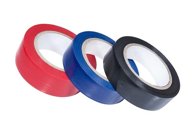 Drei spulen aus mehrfarbigem klebeband