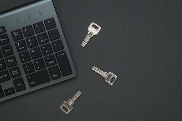 Drei tasten und eine tastatur. das konzept der computersicherheit. flach liegen.