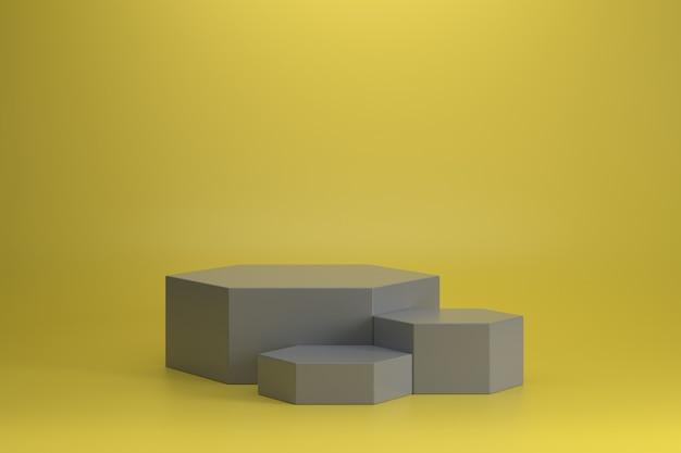 Drei verschiedene größen des ultimativen grauen sechseckigen podiums auf leuchtendem gelbem hintergrund.