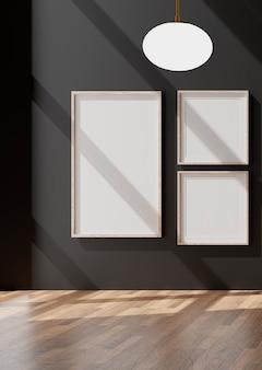 Drei vertikale weiße rahmen an der schwarzen wand