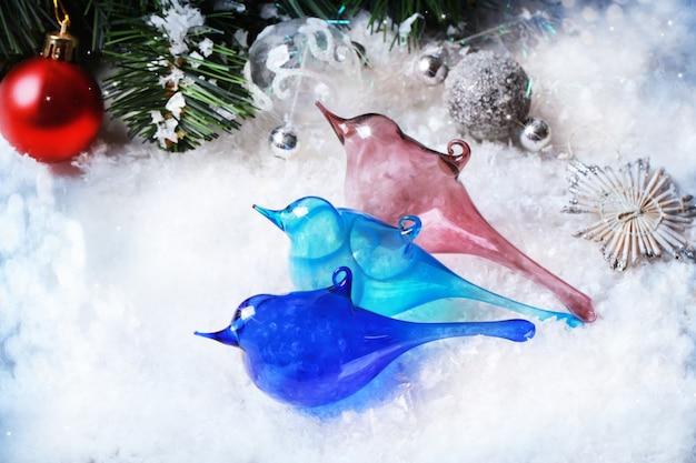 Drei weihnachten spielt glasvögel