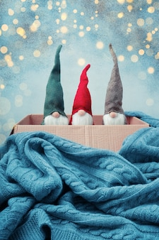 Drei weihnachtszwerge in verschiedenen farben in offener schachtel, gestrickte decke