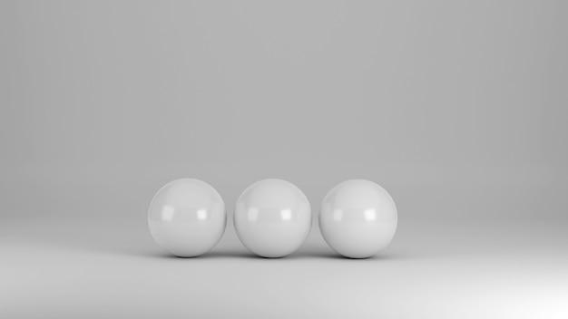 Drei weiße kugeln auf weißem hintergrund als 3d-darstellung
