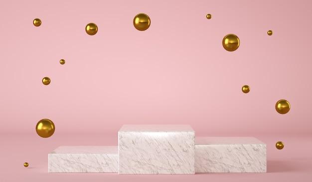 Drei weiße marmorsockel auf isoliertem hintergrund mit goldenen und glänzenden kugeln, die in der luft schweben