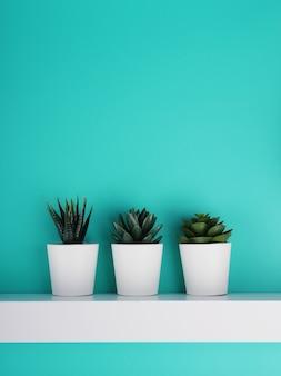 Drei weiße topf mit einer pflanze auf blauem hintergrund, stillleben, kopie des raumes.