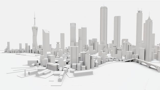 Dreidimensionale landschaft der modernen stadt