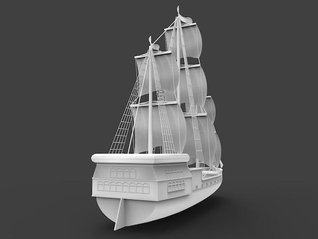 Dreidimensionale rasterillustration eines alten segelschiffs auf einem grauen hintergrund mit weichen schatten. 3d-rendering.