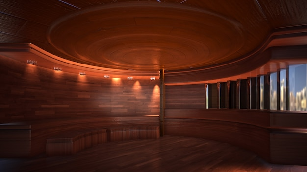 Dreidimensionaler farbhintergrund für 3d-rendering des hölzernen fernsehstudios
